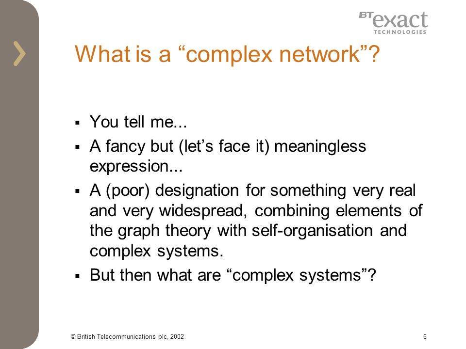 © British Telecommunications plc, 20026 What is a complex network.