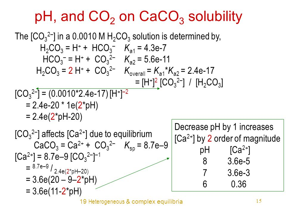 19 Heterogeneous & complex equilibria 15 pH, and CO 2 on CaCO 3 solubility The [CO 3 2– ] in a 0.0010 M H 2 CO 3 solution is determined by, H 2 CO 3 = H + + HCO 3 – K a1 = 4.3e-7 HCO 3 – = H + + CO 3 2– K a2 = 5.6e-11 H 2 CO 3 = 2 H + + CO 3 2– K overall = K a1 * K a2 = 2.4e-17 = [H + ] 2 [CO 3 2– ] / [H 2 CO 3 ] [CO 3 2– ] = (0.0010*2.4e-17) [H + ] –2 = 2.4e-20 * 1e(2*pH) = 2.4e(2*pH-20) [CO 3 2– ] affects [Ca 2+ ] due to equilibrium CaCO 3 = Ca 2+ + CO 3 2– K sp = 8.7e–9 [Ca 2+ ] = 8.7e–9 [CO 3 2– ] –1 = 8.7e–9 / 2.4e(2*pH–20) = 3.6e(20 – 9–2*pH) = 3.6e(11-2*pH) Decrease pH by 1 increases [Ca 2+ ] by 2 order of magnitude pH [Ca 2+ ] 83.6e-5 73.6e-3 60.36