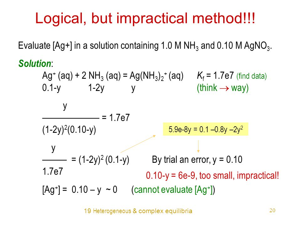 19 Heterogeneous & complex equilibria 20 Logical, but impractical method!!.