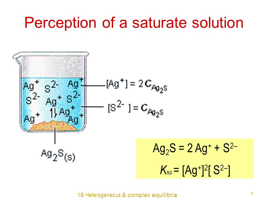 19 Heterogeneous & complex equilibria 7 Perception of a saturate solution Ag 2 S = 2 Ag + + S 2– K sp = [Ag + ] 2 [ S 2– ]