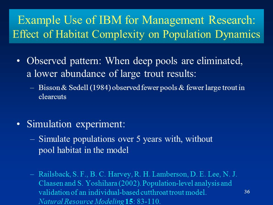 36 Example Use of IBM for Management Research: Effect of Habitat Complexity on Population Dynamics Observed pattern: When deep pools are eliminated, a