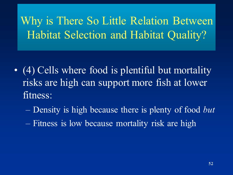 52 Why is There So Little Relation Between Habitat Selection and Habitat Quality.