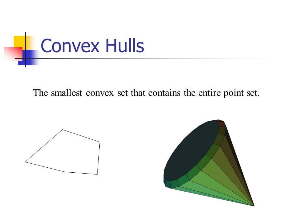 Convex Hulls The smallest convex set that contains the entire point set.