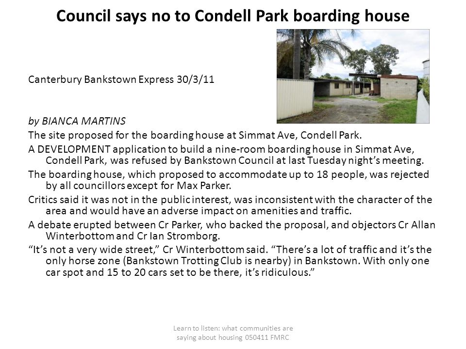Council says no to Condell Park boarding house Canterbury Bankstown Express 30/3/11 by BIANCA MARTINS The site proposed for the boarding house at Simmat Ave, Condell Park.
