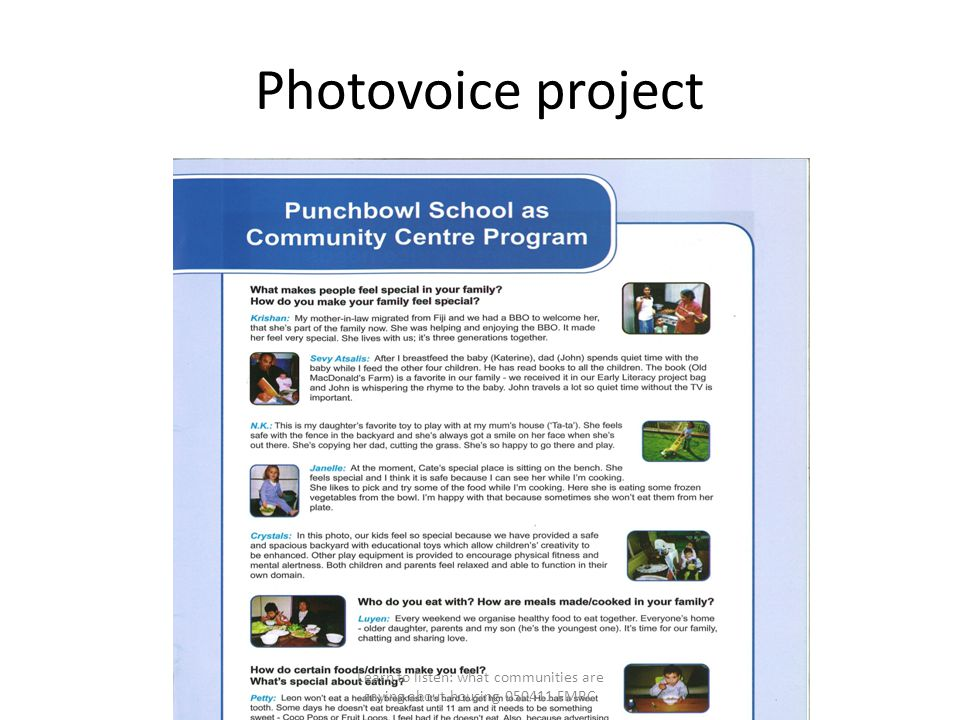 Photovoice project Learn to listen: what communities are saying about housing 050411 FMRC