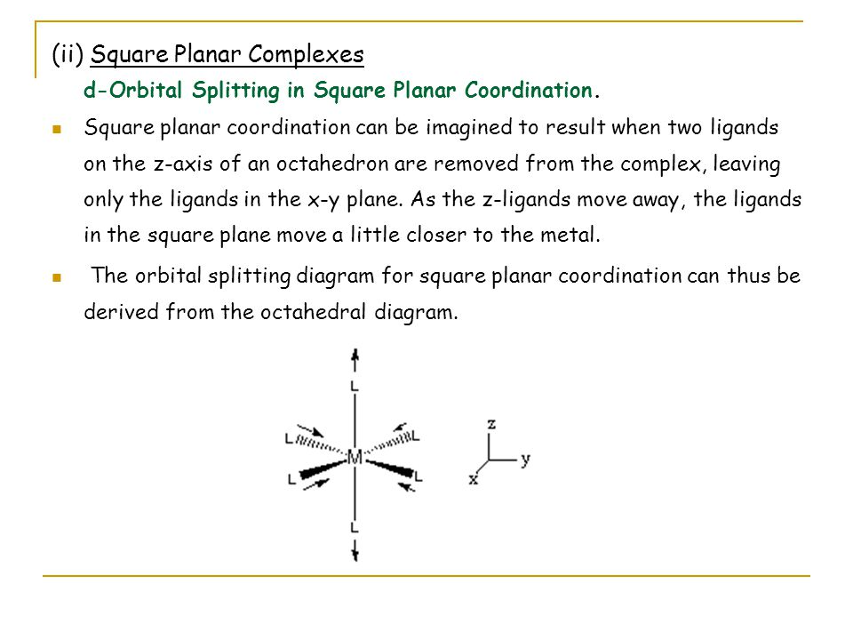 As ligands move away along the z-axis, d-orbitals with a z-component will fall in energy.