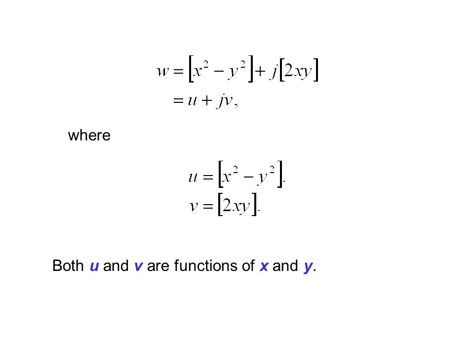 where Both u and v are functions of x and y.