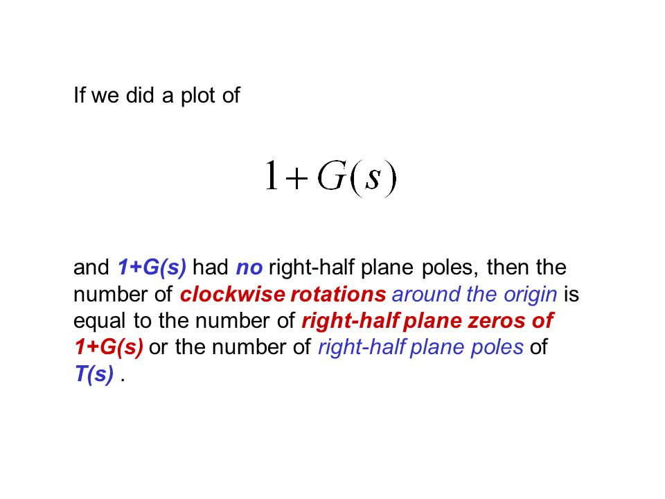 If we did a plot of and 1+G(s) had no right-half plane poles, then the number of clockwise rotations around the origin is equal to the number of right