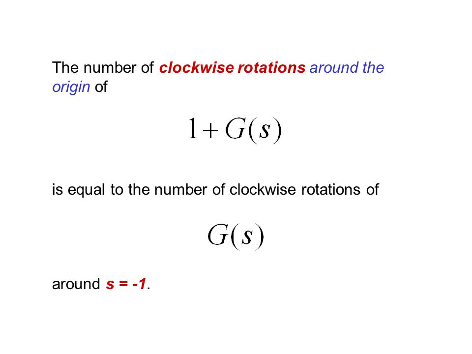 The number of clockwise rotations around the origin of is equal to the number of clockwise rotations of around s = -1.