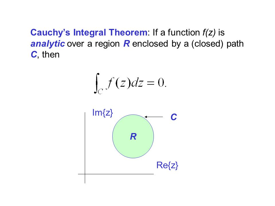 Cauchys Integral Theorem: If a function f(z) is analytic over a region R enclosed by a (closed) path C, then Re{z} Im{z} C R