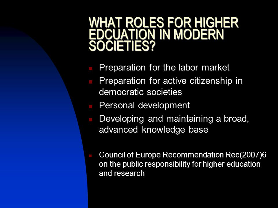 WHAT ROLES FOR HIGHER EDCUATION IN MODERN SOCIETIES.