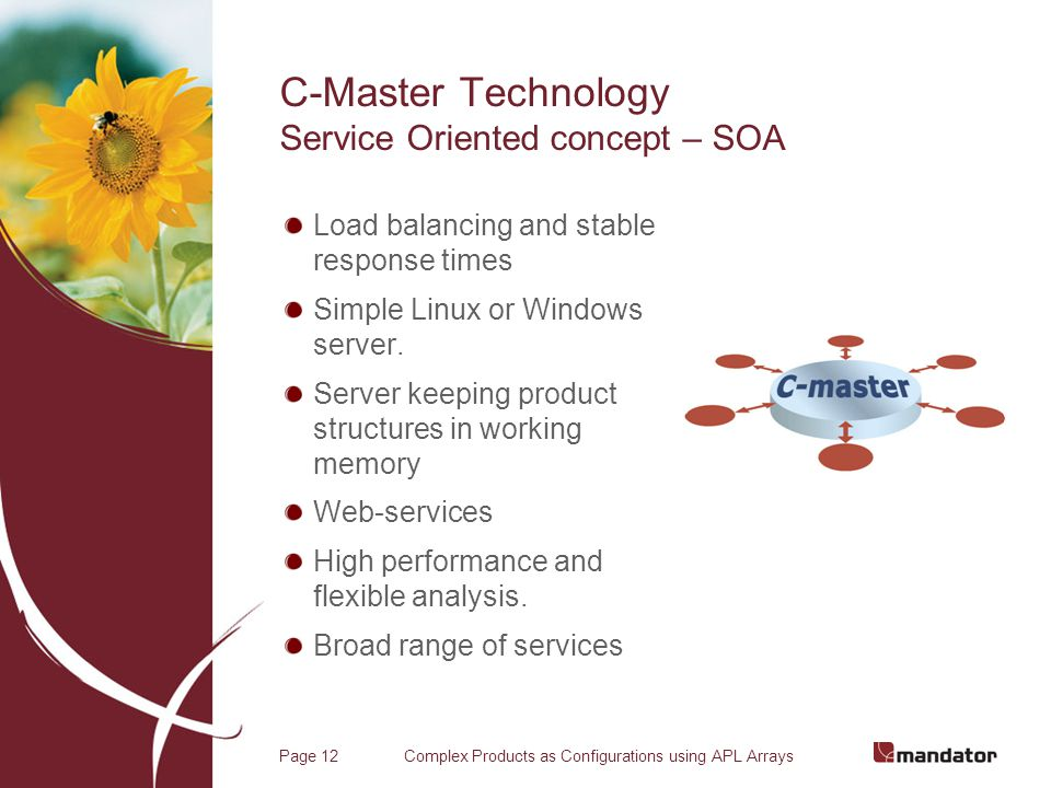 Complex Products as Configurations using APL ArraysPage 12 C-Master Technology Service Oriented concept – SOA Load balancing and stable response times Simple Linux or Windows server.
