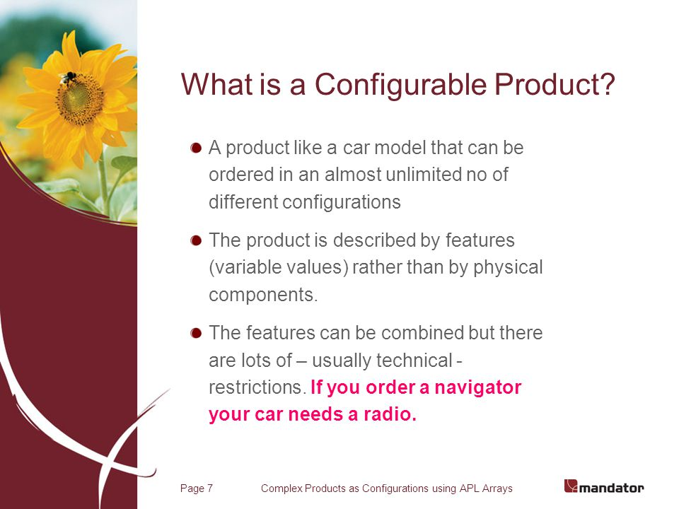 Complex Products as Configurations using APL ArraysPage 8 What is a Product or Configuration Structure.