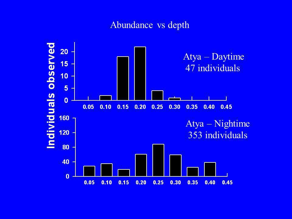 Atya – Daytime 47 individuals Atya – Nightime 353 individuals Abundance vs depth