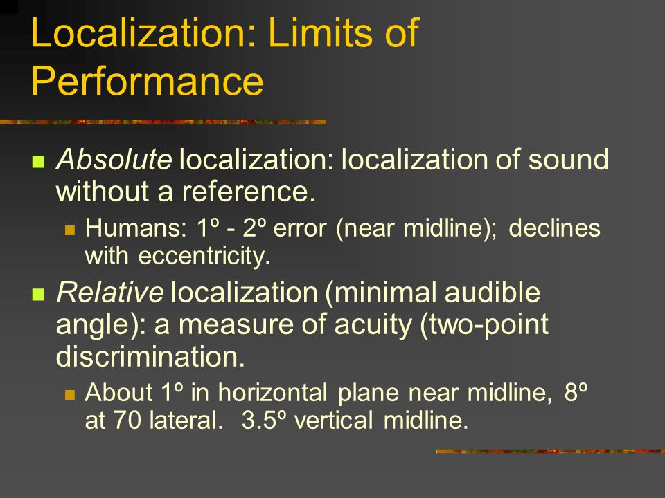 Localization: Limits of Performance Absolute localization: localization of sound without a reference.