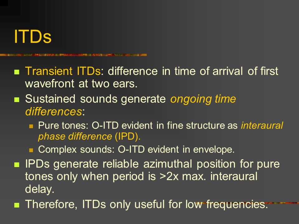 ITDs Transient ITDs: difference in time of arrival of first wavefront at two ears.