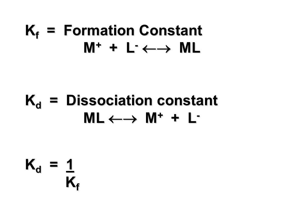 K f = Formation Constant M + + L - ML K d = Dissociation constant ML M + + L - K d = 1 K f K f