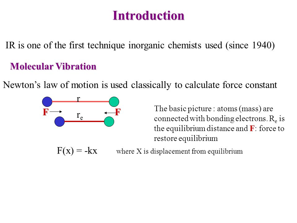 Introduction IR is one of the first technique inorganic chemists used (since 1940) Molecular Vibration Newtons law of motion is used classically to ca