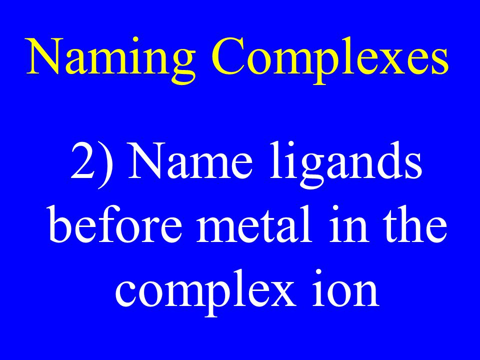 Naming Complexes 2) Name ligands before metal in the complex ion