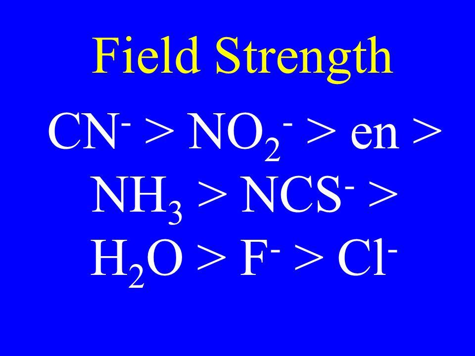 Field Strength CN - > NO 2 - > en > NH 3 > NCS - > H 2 O > F - > Cl -
