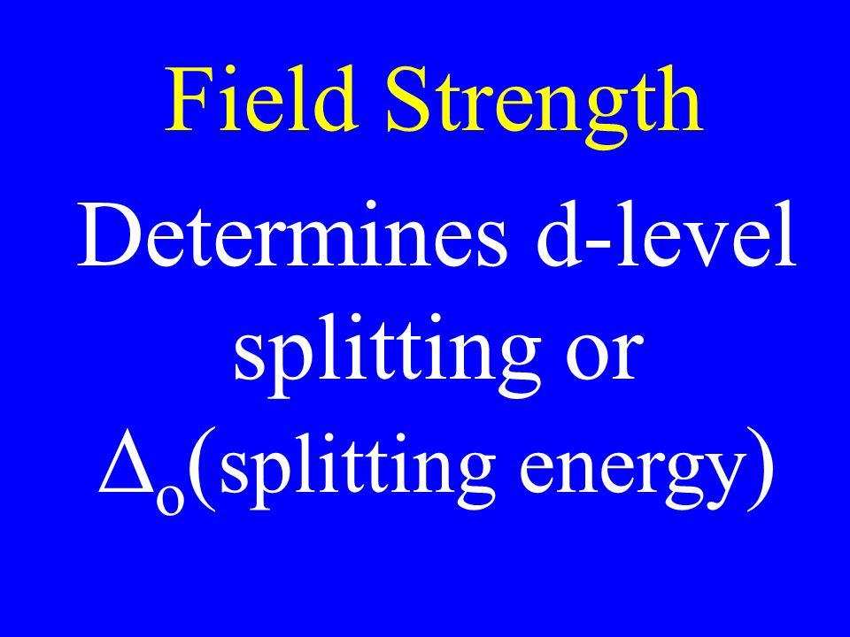 Field Strength Determines d-level splitting or o ( splitting energy )