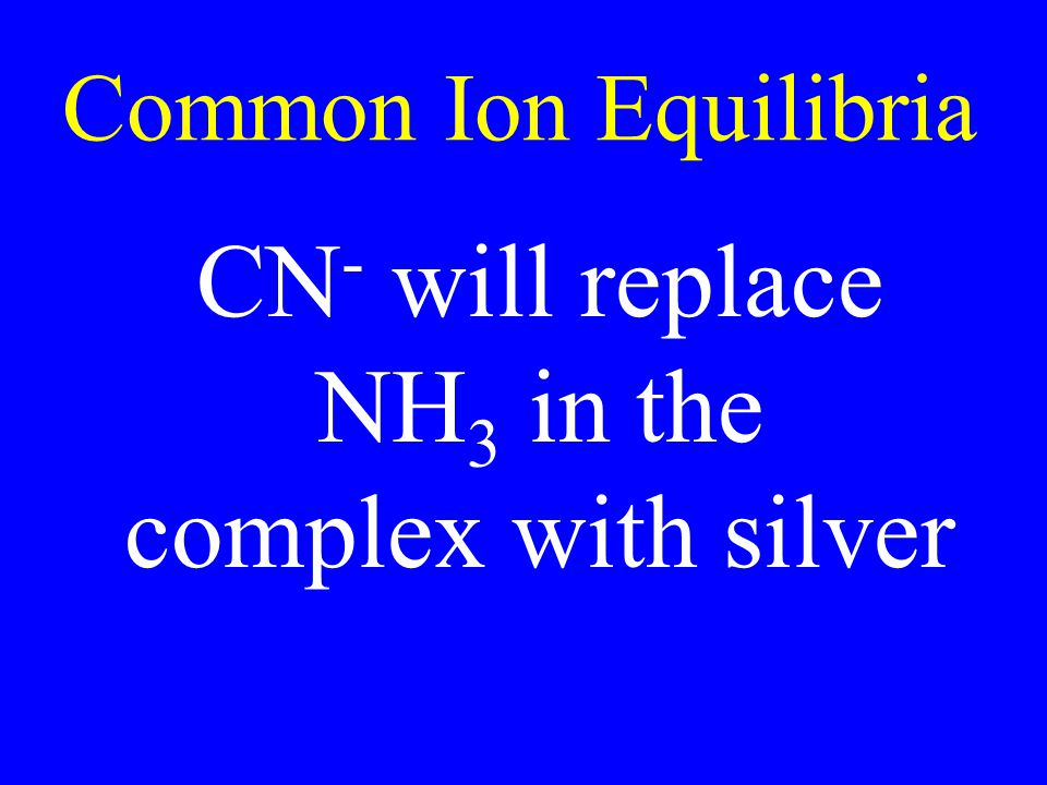 Common Ion Equilibria CN - will replace NH 3 in the complex with silver