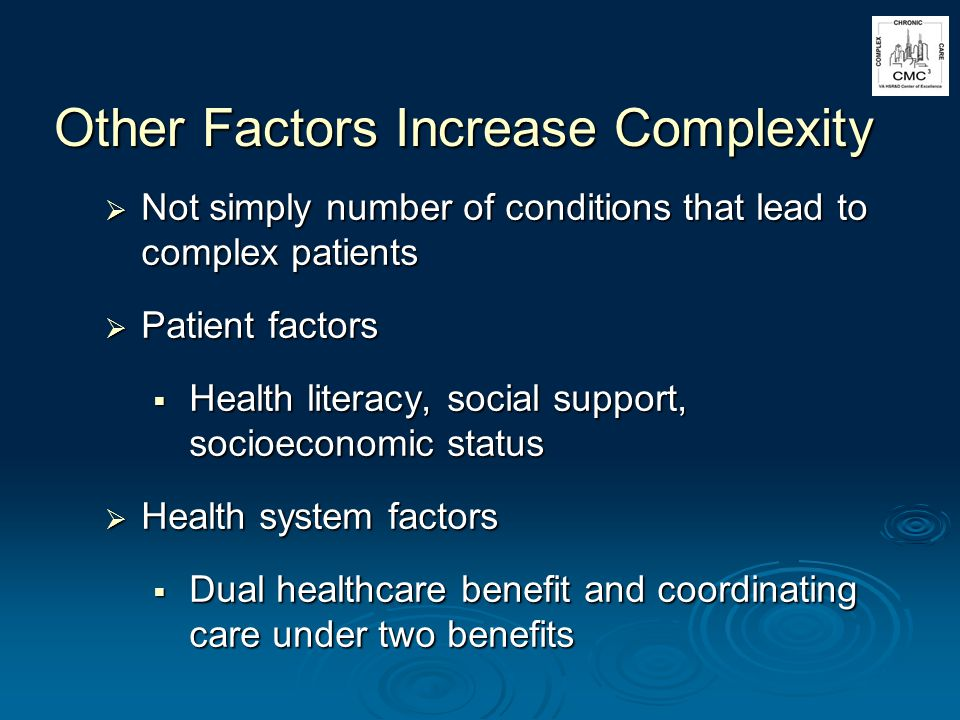 Other Factors Increase Complexity Not simply number of conditions that lead to complex patients Not simply number of conditions that lead to complex patients Patient factors Patient factors Health literacy, social support, socioeconomic status Health literacy, social support, socioeconomic status Health system factors Health system factors Dual healthcare benefit and coordinating care under two benefits Dual healthcare benefit and coordinating care under two benefits