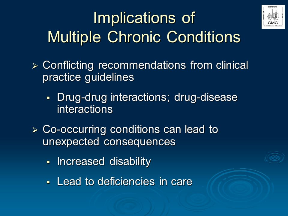 Implications of Multiple Chronic Conditions Conflicting recommendations from clinical practice guidelines Conflicting recommendations from clinical practice guidelines Drug-drug interactions; drug-disease interactions Drug-drug interactions; drug-disease interactions Co-occurring conditions can lead to unexpected consequences Co-occurring conditions can lead to unexpected consequences Increased disability Increased disability Lead to deficiencies in care Lead to deficiencies in care