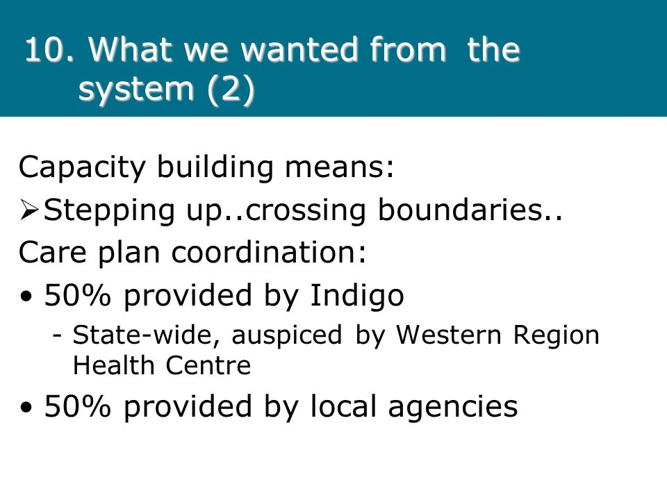 10. What we wanted from the system (2) Capacity building means: Stepping up..crossing boundaries.. Care plan coordination: 50% provided by Indigo - St