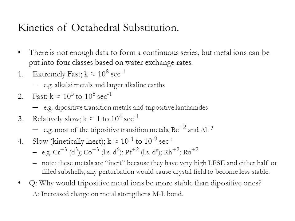 Kinetics of Octahedral Substitution. There is not enough data to form a continuous series, but metal ions can be put into four classes based on water-