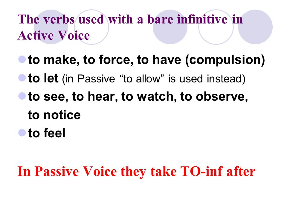 The verbs used with a bare infinitive in Active Voice to make, to force, to have (compulsion) to let (in Passive to allow is used instead) to see, to