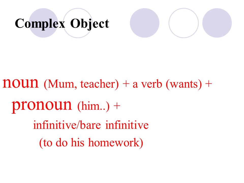 Complex Object noun (Mum, teacher) + a verb (wants) + pronoun (him..) + infinitive/bare infinitive (to do his homework)