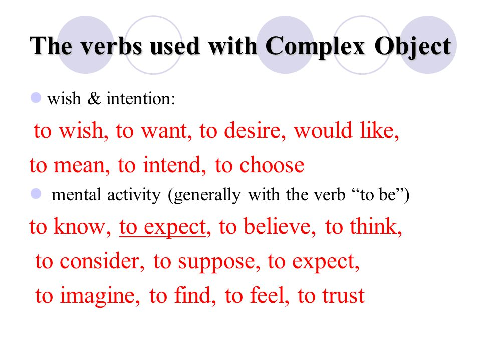 The verbs used with Complex Object wish & intention: to wish, to want, to desire, would like, to mean, to intend, to choose mental activity (generally