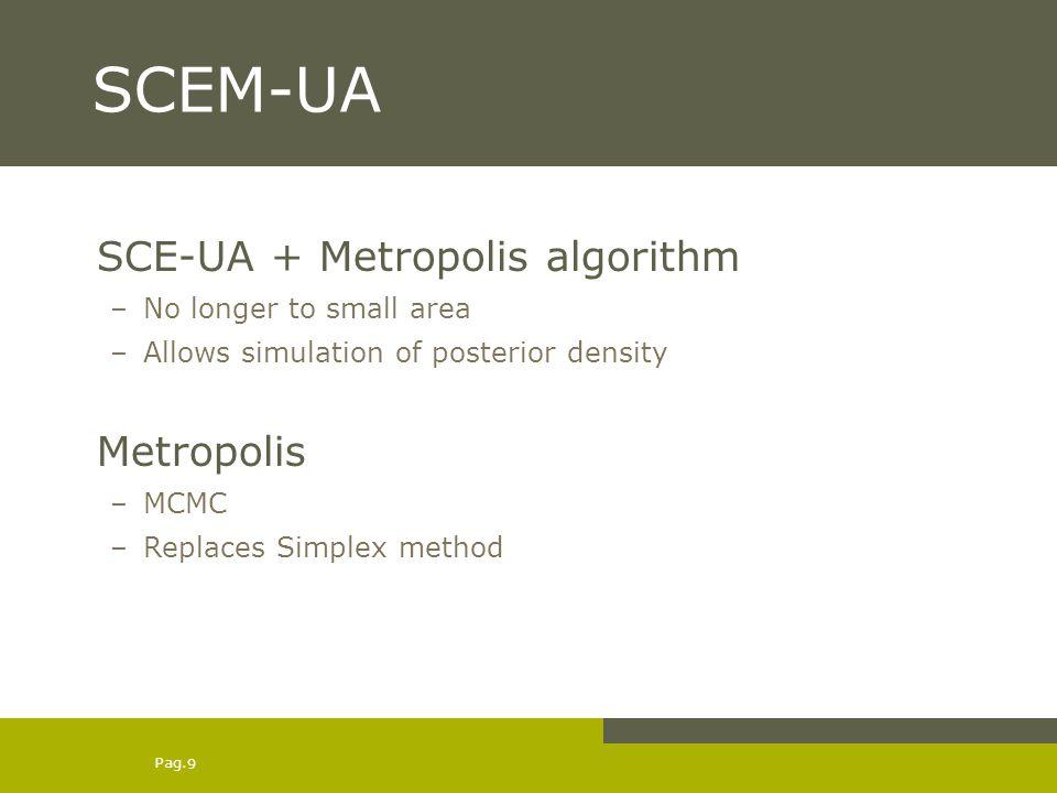 Pag. 9 SCEM-UA SCE-UA + Metropolis algorithm –No longer to small area –Allows simulation of posterior density Metropolis –MCMC –Replaces Simplex metho