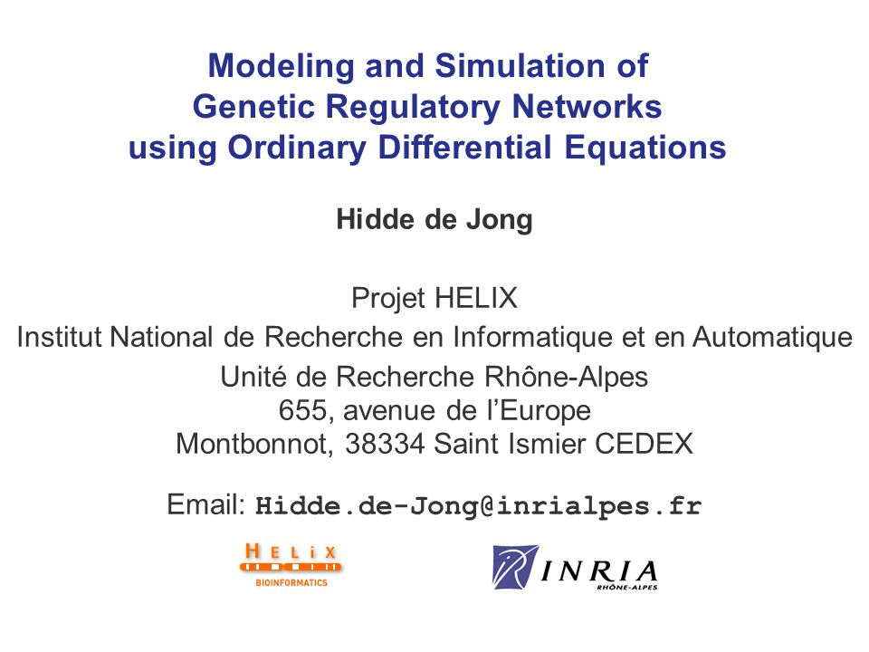 2 Overview 1.Analysis of genetic regulatory networks 2.