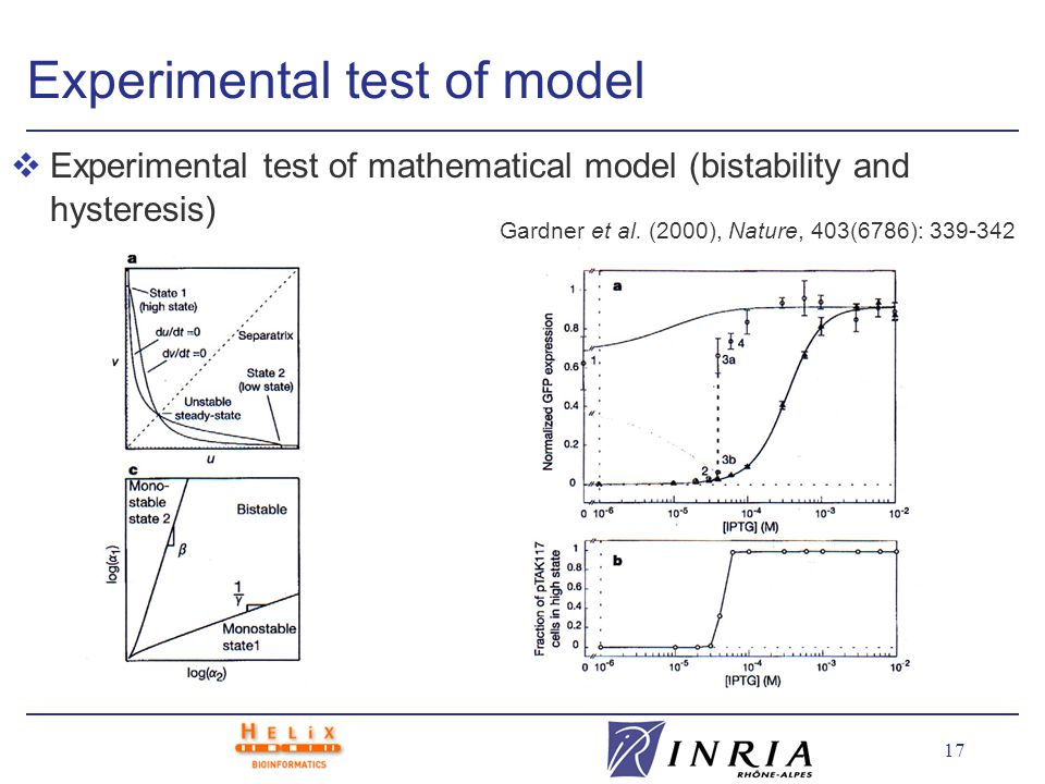 17 Experimental test of model vExperimental test of mathematical model (bistability and hysteresis) Gardner et al.