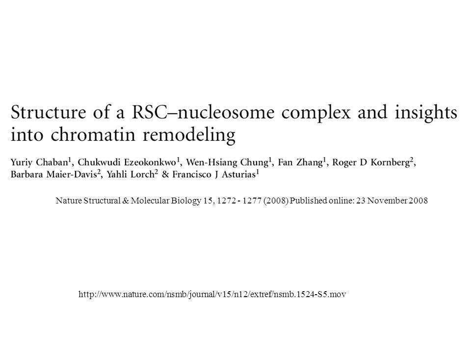 Nature Structural & Molecular Biology 15, 1272 - 1277 (2008) Published online: 23 November 2008 http://www.nature.com/nsmb/journal/v15/n12/extref/nsmb