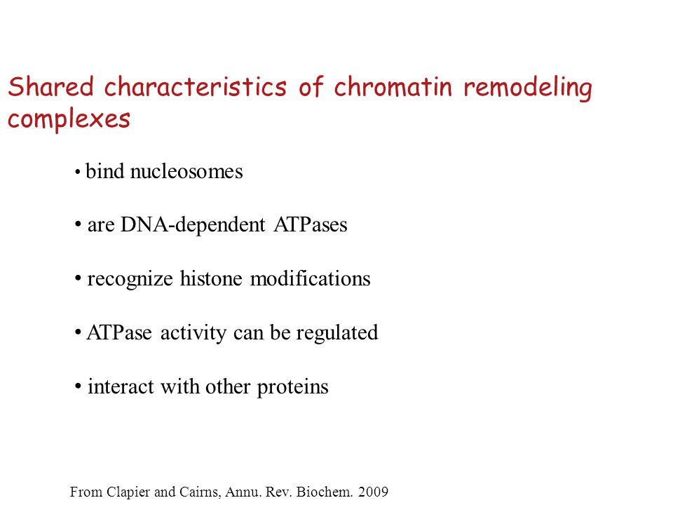 Assays for chromatin remodeling Non-covalent alteration!