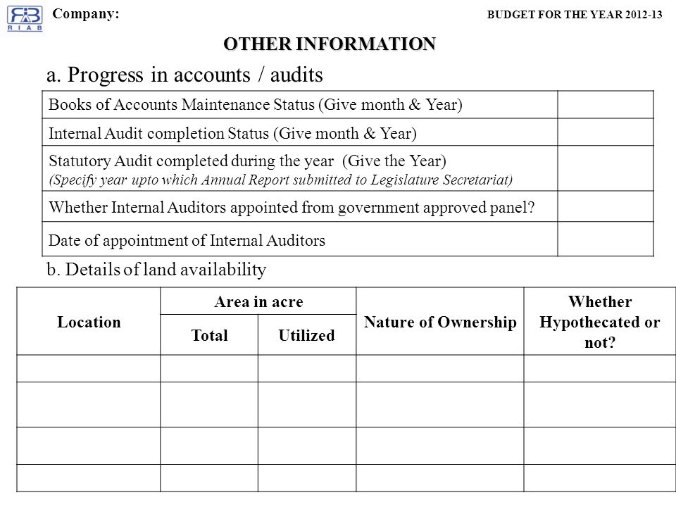 OTHER INFORMATION Books of Accounts Maintenance Status (Give month & Year) Internal Audit completion Status (Give month & Year) Statutory Audit completed during the year (Give the Year) (Specify year upto which Annual Report submitted to Legislature Secretariat) Whether Internal Auditors appointed from government approved panel.