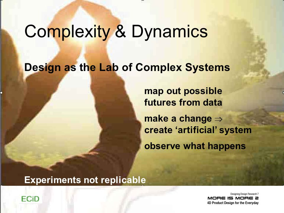 Complexity & Dynamics Design as the Lab of Complex Systems map out possible futures from data make a change create artificial system observe what happens Experiments not replicable