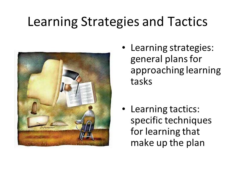 Learning Strategies and Tactics Learning strategies: general plans for approaching learning tasks Learning tactics: specific techniques for learning t