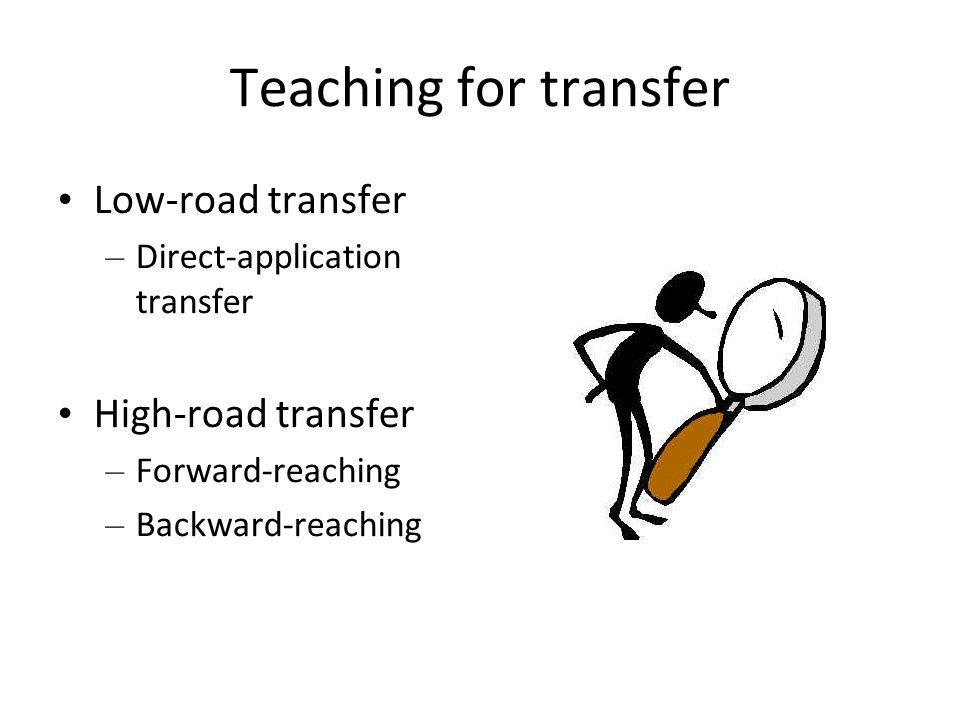 Teaching for transfer Low-road transfer – Direct-application transfer High-road transfer – Forward-reaching – Backward-reaching