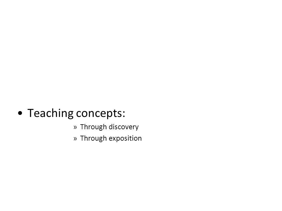 Teaching concepts: »Through discovery »Through exposition