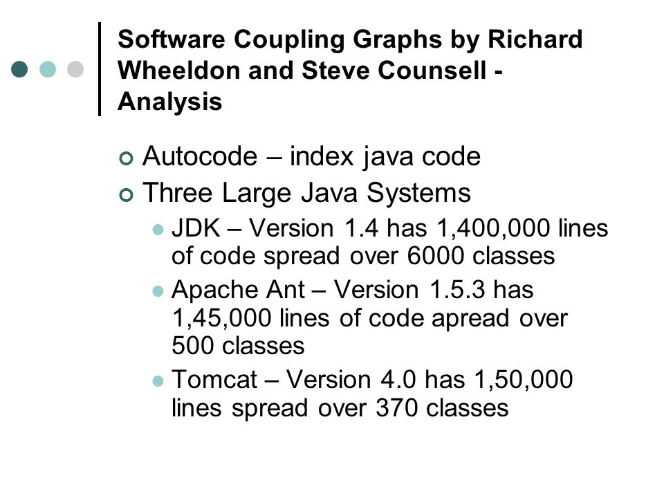 Software Coupling Graphs by Richard Wheeldon and Steve Counsell - Analysis Autocode – index java code Three Large Java Systems JDK – Version 1.4 has 1,400,000 lines of code spread over 6000 classes Apache Ant – Version 1.5.3 has 1,45,000 lines of code apread over 500 classes Tomcat – Version 4.0 has 1,50,000 lines spread over 370 classes