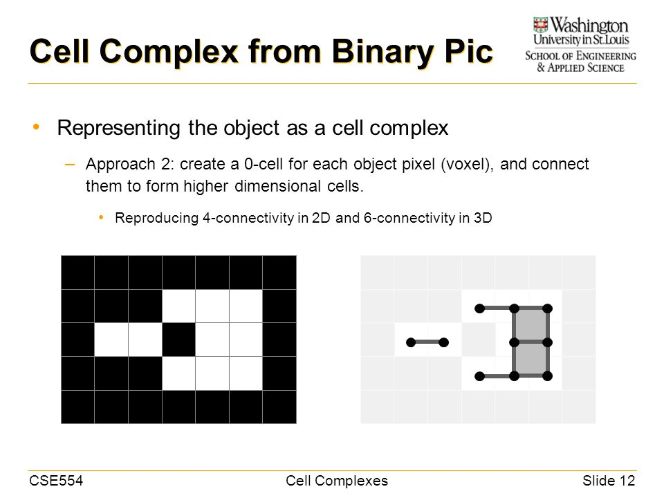CSE554Cell ComplexesSlide 12 Representing the object as a cell complex – Approach 2: create a 0-cell for each object pixel (voxel), and connect them to form higher dimensional cells.