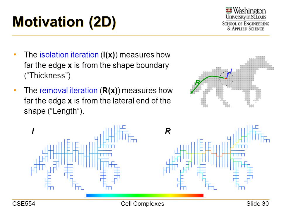 CSE554Cell ComplexesSlide 30 Motivation (2D) The isolation iteration (I(x)) measures how far the edge x is from the shape boundary (Thickness).