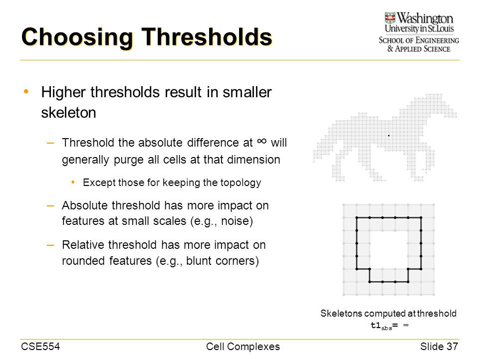 CSE554Cell ComplexesSlide 37 Choosing Thresholds Higher thresholds result in smaller skeleton – Threshold the absolute difference at will generally purge all cells at that dimension Except those for keeping the topology – Absolute threshold has more impact on features at small scales (e.g., noise) – Relative threshold has more impact on rounded features (e.g., blunt corners) t1 abs = Skeletons computed at threshold