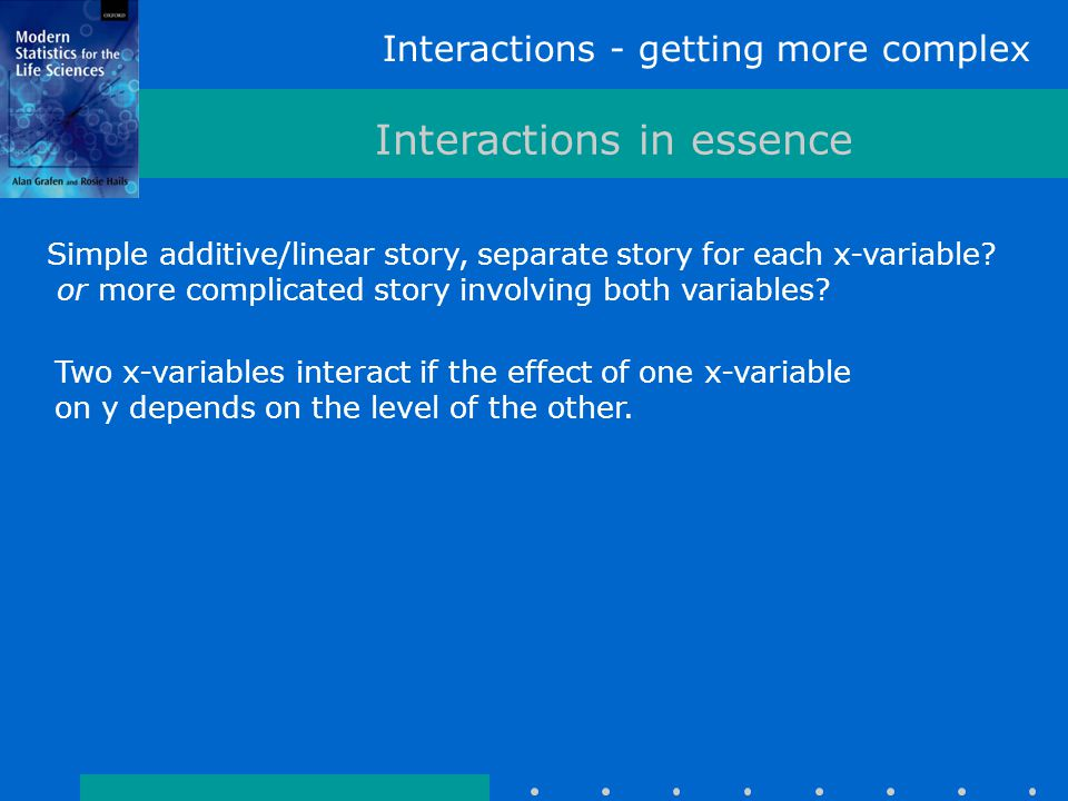 Interactions - getting more complex Interactions in essence Simple additive/linear story, separate story for each x-variable.