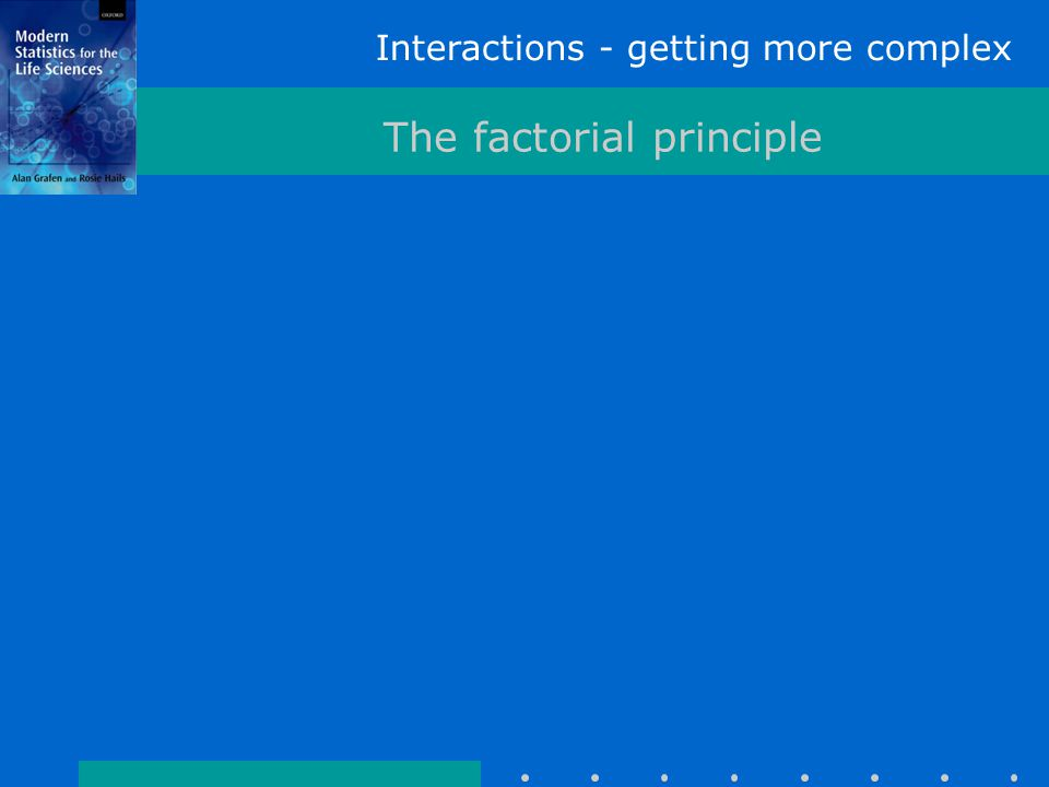 Interactions - getting more complex The factorial principle