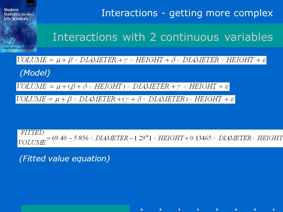 Interactions - getting more complex Interactions with 2 continuous variables (Model) (Fitted value equation)